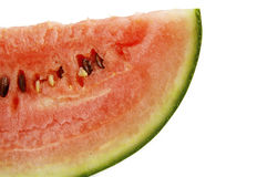 Sloce of watermelon. Closeup of watermelon slice isolated on a white background Stock Images
