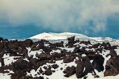 Slocknad krater på vulkan Etna Arkivbild