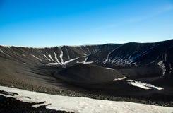 Slocknad vulkan nära Myvatn sjön, Island arkivfoton