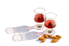 Sloe Gin & Almonds Royalty Free Stock Photography