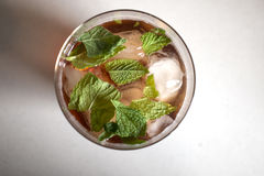 Sloe Gin Cocktail with Mint Leaves Royalty Free Stock Image