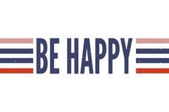 Slogan är för vektortryck för lyckligt uttryck grafisk kalligrafi för bokstäver för mode arkivbild