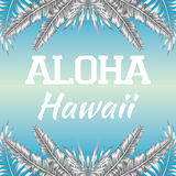 Slogan Aloha Hawaii blue background. Mirrored trendy black white style illustration of tropic exotic plant palm banana leaves slogan Aloha Hawaii, vector on a Royalty Free Stock Image