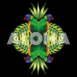 Slogan aloha parrot, plants black background Stock Images