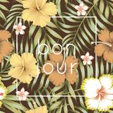 Slogan bon jour tropical leaves hibiscus brown background Royalty Free Stock Photos