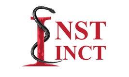Slogan criativo do instinto com ilustra??o enorme da serpente para o projeto do t-shirt Ilustra??o lisa do projeto ilustração royalty free