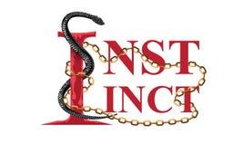Slogan criativo do instinto com ilustra??o enorme da serpente para o projeto do t-shirt Ilustra??o lisa do vetor do projeto ilustração royalty free