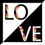 Slogan d'amour avec des éléments des fleurs illustration stock