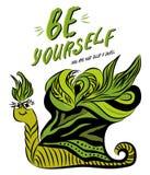 Slogan da motivação com caracol ilustração stock