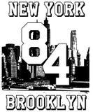 Slogan da tipografia com vetor de New York para a impressão e o bordado da camisa de t ilustração royalty free