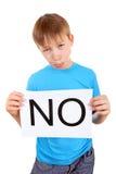 Slogan de prise d'enfant AUCUN Image stock