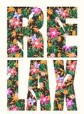 Slogan de typographie avec l'illustration de fleur illustration de vecteur
