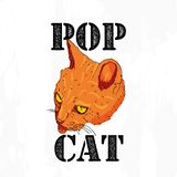 Slogan de typographie avec le chat tiré par la main illustration de vecteur