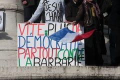Slogan defending the democracy in Paris. Royalty Free Stock Photos