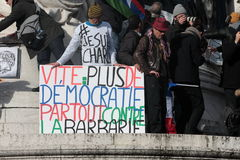 Slogan defending democracy in Paris. Stock Photo