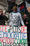 Slogan defending democracy in Paris. Stock Photos