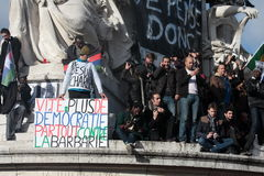 Slogan defending democracy in Paris. Royalty Free Stock Photography
