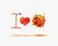 Slogan del fan: amo la pallacanestro illustrazione vettoriale