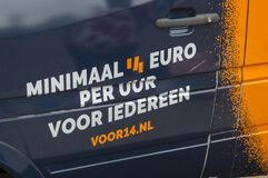 Slogan On A Demonstration Car For A 14 Euro Wages At Amsterdam The Netherlands 1-7-2020