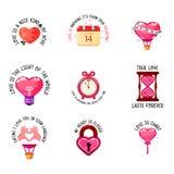 Slogan di amore ed icone giorno di S. Valentino, doppia esposizione, stile piano moderno di progettazione royalty illustrazione gratis