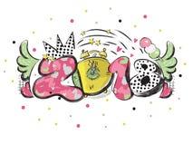 Slogan do ano 2018 novo com elemento do projeto da pintura do pop art para insetos, folhetos, cartão e cartazes ilustração do vetor