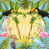 Slogan endless summer flowers leaves bird in the sun blue backgr. Slogan endless summer on a background of tropical birds toucan, parrot, hoopoe, pink flamingo vector illustration
