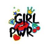 Slogan för feminist för tecknad filmflickamakt royaltyfri illustrationer