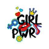 Slogan för feminist för tecknad filmflickamakt stock illustrationer