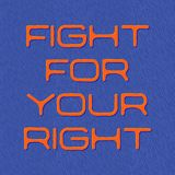 Slogan, fight for your right quote, blue background. Vector illustration as a quote, motto, flannel, banner Stock Photo
