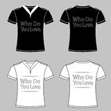 Slogan graphic t shirt designs with heart. T-Shirt Design who do you love eps10. Slogan graphic t shirt designs with heart. T-Shirt Design who do you love eps 10 royalty free illustration