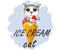Slogan ice cream cat vector illustration