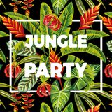 Slogan jungle party flowers and leaves Royalty Free Stock Images
