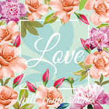 Slogan love will come soon aqua mint rose peony background. Trendy slogan love will come soon in the frame on the aqua mint background of roses and peonies stock illustration
