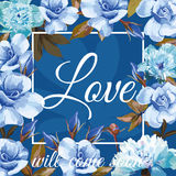 Slogan love will come soon blue sapphirine rose peony background Stock Images