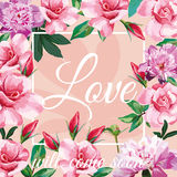 Slogan love will come soon light pink rose peony background Stock Photos