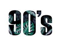 slogan 90 met boombladeren Perfectioneer voor decor zoals affiches, muurkunst, totalisatorzak, t-shirtdruk, sticker, prentbriefka vector illustratie