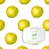 Slogan positivo di motivazione sulla mela dell'acquerello Fotografie Stock