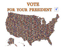 Slogan for presidential election with map of USA Royalty Free Stock Photos