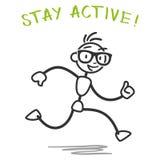 Slogan running da aptidão do homem da vara do vetor Imagem de Stock Royalty Free