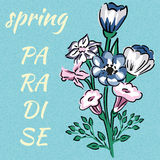 Slogan spring paradise bouquet of wild flowers blue background Stock Images