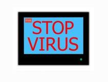 Slogan STOP VIRUS  on television screen. Modern LCD screen with  slogan STOP  VIRUS Stock Photos