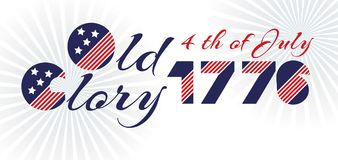 Slogan vector print for celebration design in vintage style on white background with text The old glory 4th of July 1776 Royalty Free Stock Photos