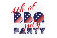 Slogan vector print for celebration design in vintage style on white background with text 4th of july BBQ party Royalty Free Stock Images