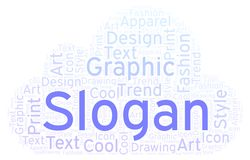 Slogan word cloud. Wordcloud made with text only vector illustration