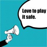 Sloganidé för ditt projekt: FÖRÄLSKELSE ATT SPELA IT-KASSASKÅPET - hand med en megafon stock illustrationer