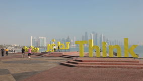 Slogans on the corniche of Doha, Qatar Royalty Free Stock Photos