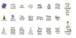 Slogans for the new year. Christmas posters for an interior or for t-shirts. Modern style calligraphy and lettering 3d. Stars. On a white background vector illustration
