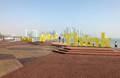 Slogans Realize and Think in Doha Stock Image