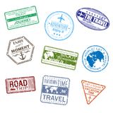9 slogans about travel in the form of a visa on a white backgrou. Nd. Vector illustration Stock Photography
