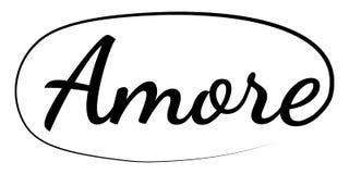 Sloganu słowa AMORE zwrota amore druku mody graficzny wektorowy literowanie na odzieżowej kaligrafii ilustracji